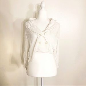 Free People White Cropped Button Blouse Size M